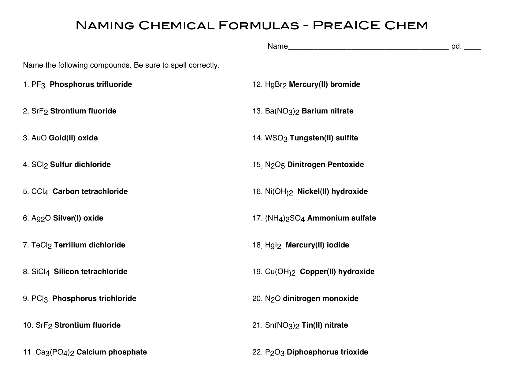 November Calendar – Chemical Formulas Worksheet